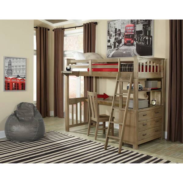 Highlands Driftwood Twin Loft Bed with Desk, image 1