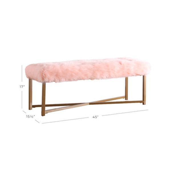 Faux Fur Rectangle Bench - Pink, image 8