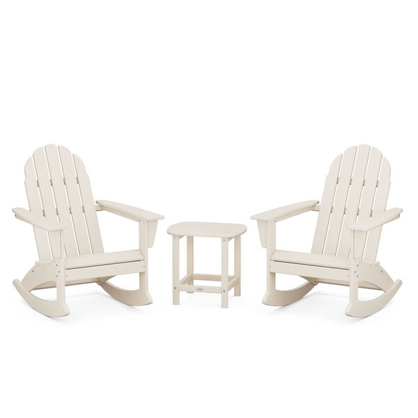 Vineyard Sand Outdoor Adirondack Rocking Chair Set with Side Table, 3-Piece, image 1