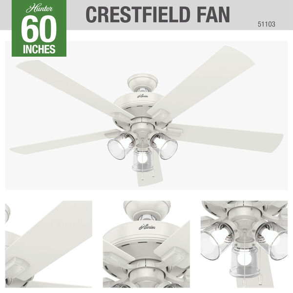 Crestfield Fresh White 60-Inch LED Ceiling Fan, image 3