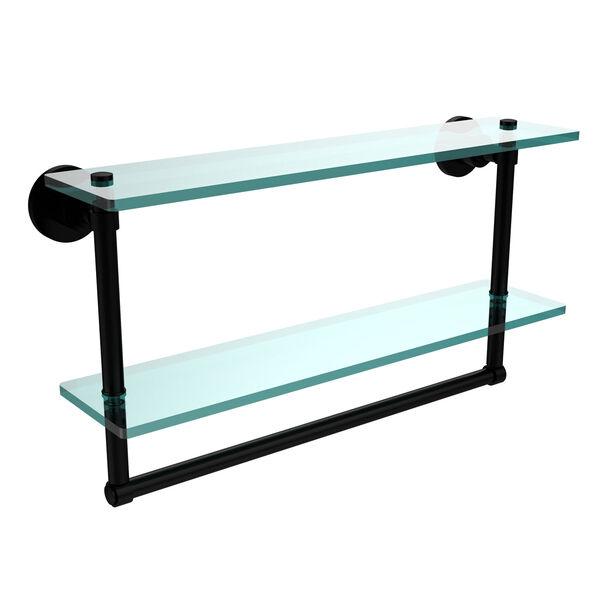 Washington Square Matte Black 22 x 5 Glass Shelf with Towel Bar, image 1