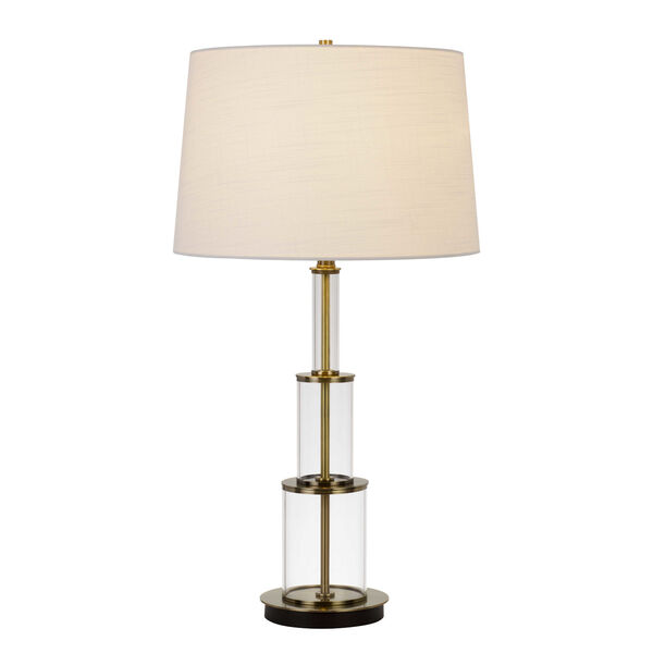 Brest Antique Brass and White One-Light Table lamp, image 2