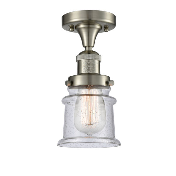 Franklin Restoration Brushed Satin Nickel 12-Inch LED Semi-Flush Mount with Seedy Canton Shade, image 1