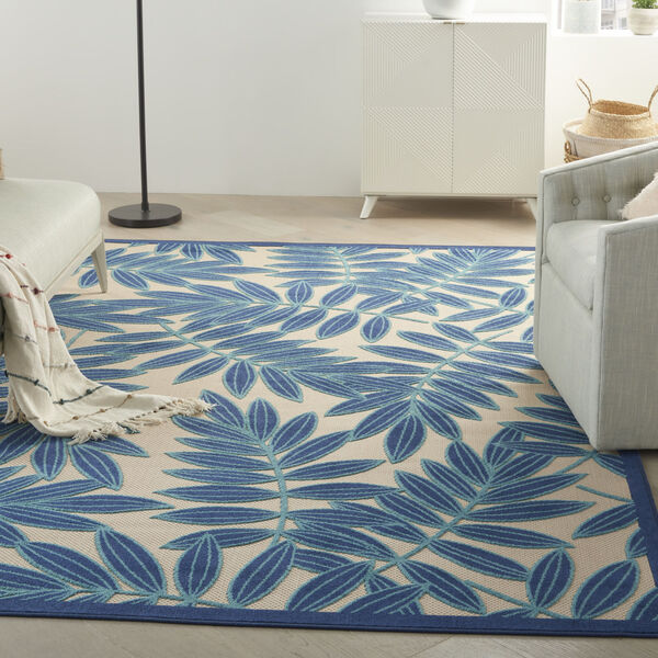 Aloha Navy Blue and White Indoor/Outdoor Area Rug, image 1