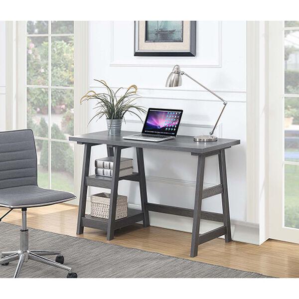 Designs2Go Charcoal Gray Trestle Desk, image 3