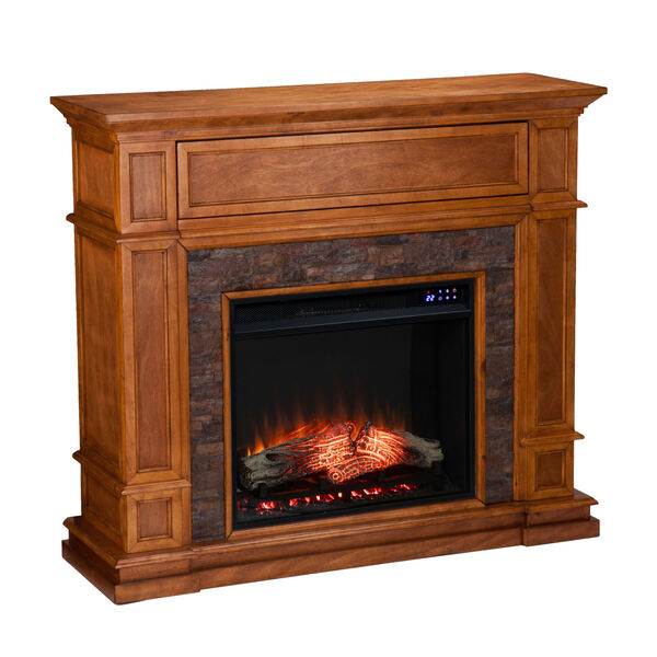Belleview Sienna Electric Fireplace with Faux Stone, image 2