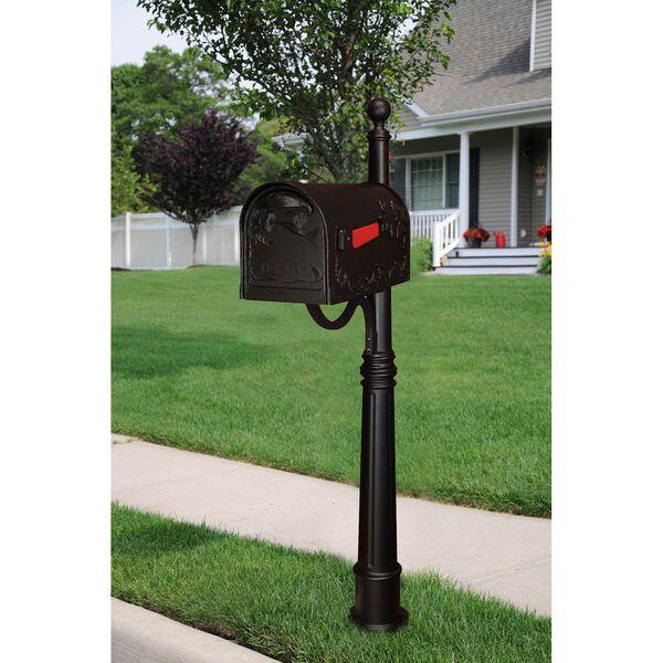 Hummingbird Black Curbside Mailbox with Ashland Mailbox Post Unit, image 2