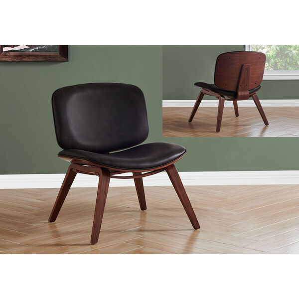 Black and Dark Brown Armless Chair, image 2