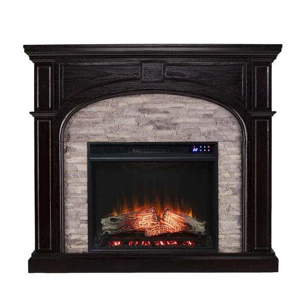 Tanaya Ebony Electric Fireplace with Faux Stone, image 2