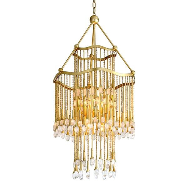 Kiara Gold Leaf Eight-Light Chandelier, image 1