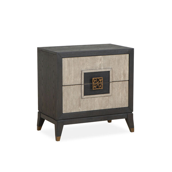 Ryker Nocturn Black and Coventry Gray Nightstand with Drawer, image 1