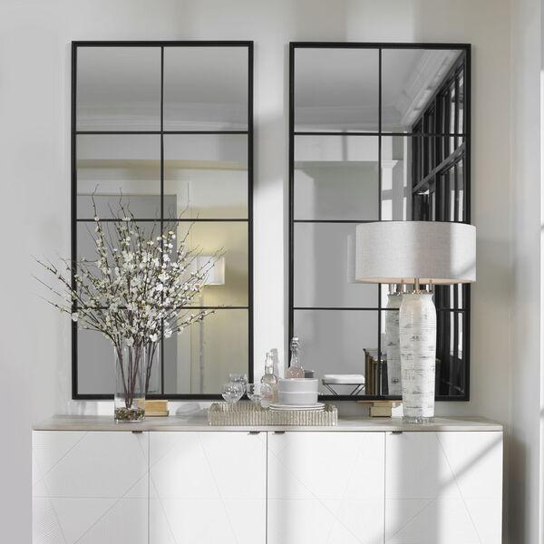 Rousseau Black Iron Window Mirror, image 1
