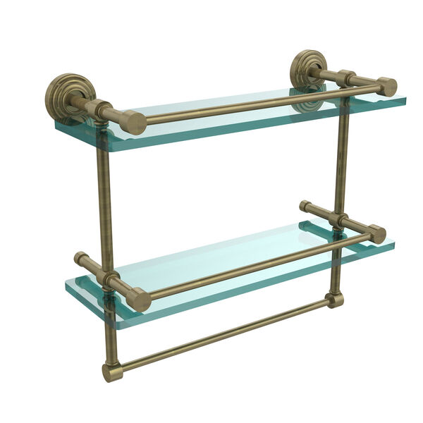16 Inch Gallery Double Glass Shelf with Towel Bar, Antique Brass, image 1