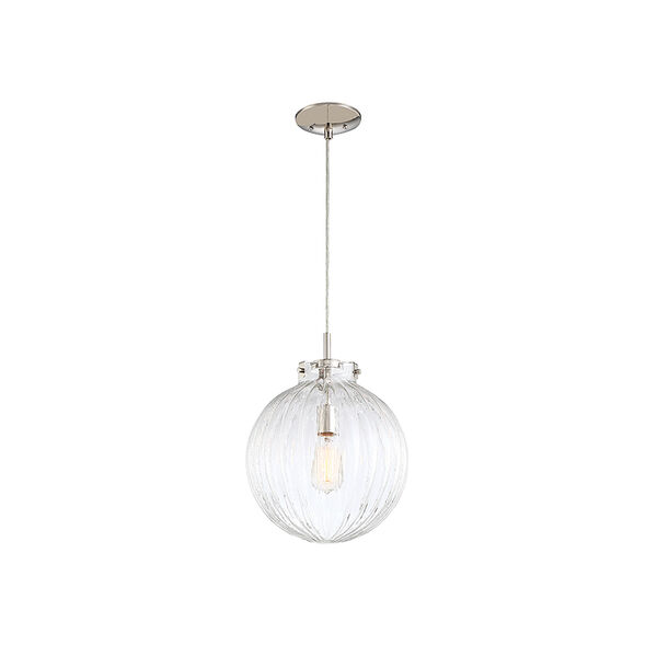 Whittier Polished Nickel One-Light Mini Pendant with Ribbed Glass, image 4