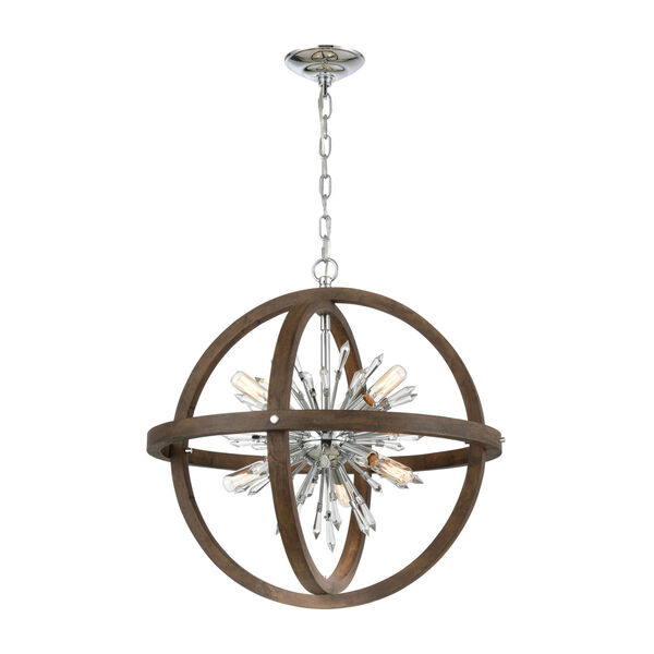 Morning Star Aged Wood and Polished Chrome 10-Light Chandelier, image 1