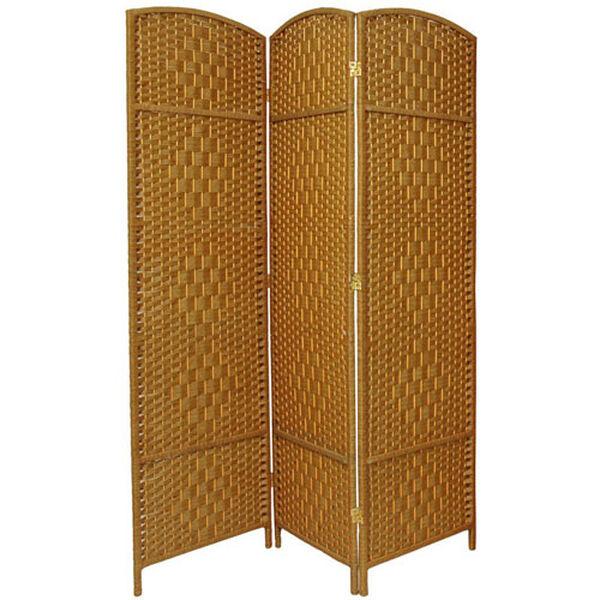Six Ft. Tall Diamond Weave Fiber Room Divider Light Beige Three Panel, Width - 58.5 Inches, image 1