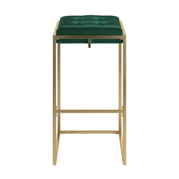 Minnie Gold and Green Velvet Button Tufted Bar Stool, Set of Two, image 3