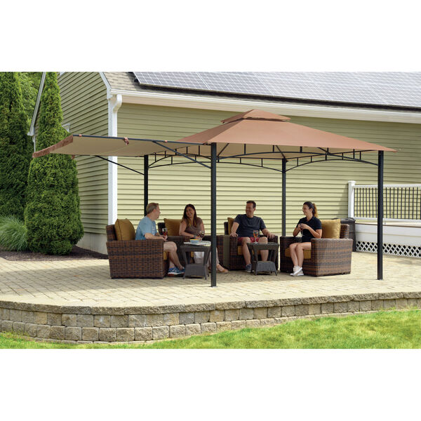 Redwood Brown Bronze 11 x 11 Feet Gazebo with Square Tube Brow Frame and Awning, image 2