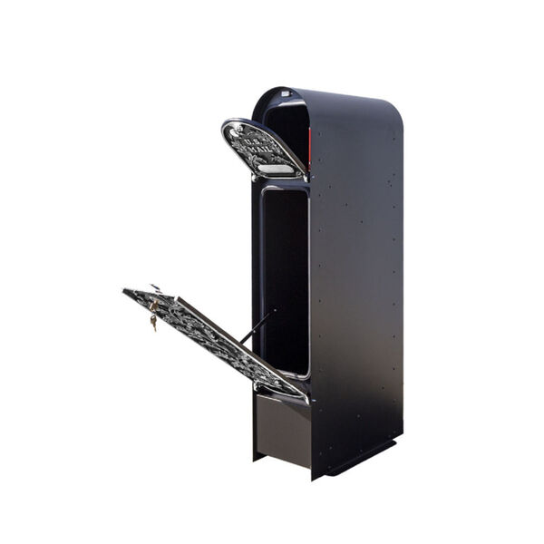 MailKeeper 150 Black and Silver 49-Inch Locking Column Mount Mailbox with Decorative Running Oak Design Front, image 3