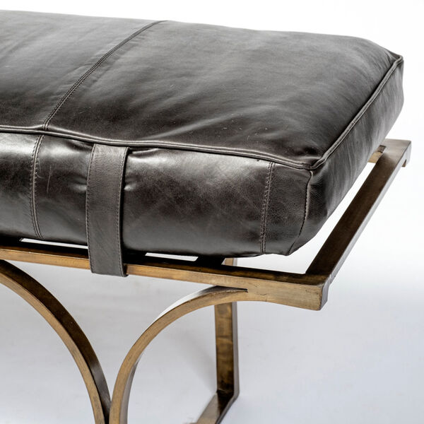 Jessie Black and Gold Bench with Genuine Leather Seat, image 4