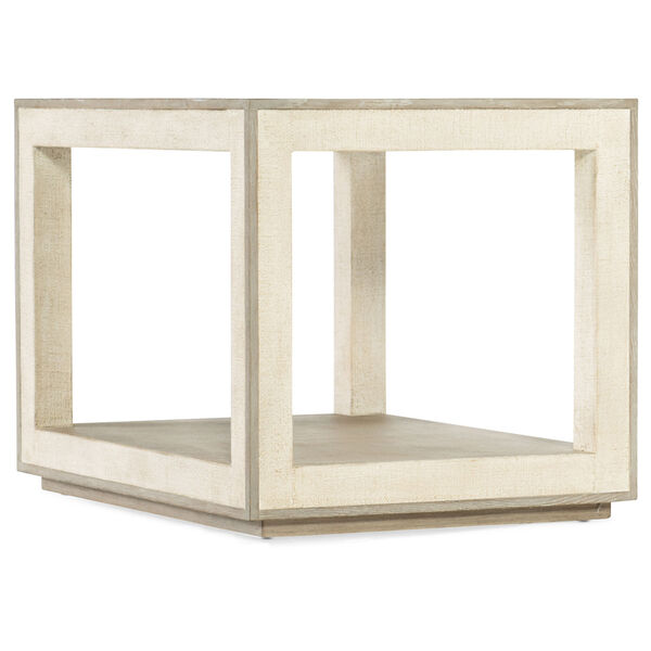 Cascade Taupe Laquered Burlap End Table, image 1