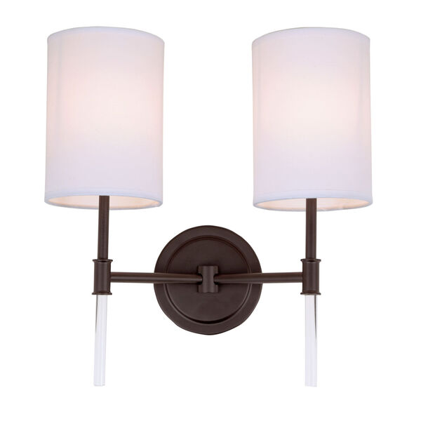 Hudson Oil Rubbed Bronze 14-Inch Two-Light Wall Sconce, image 1