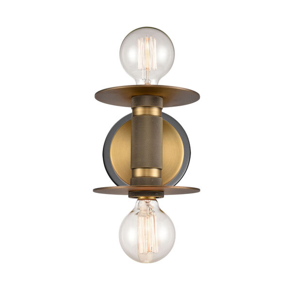 Aurora Black Brushed Brass Two-Light LED Wall Sconce, image 1