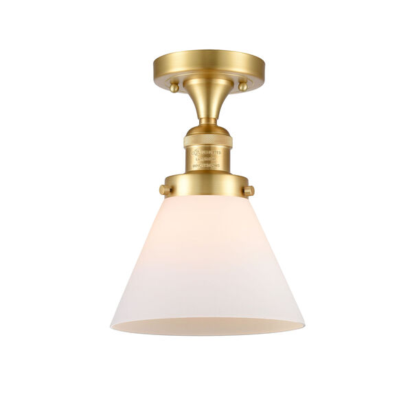 Franklin Restoration Satin Gold 12-Inch One-Light Semi-Flush Mount with Matte White Cased Large Cone Shade, image 1
