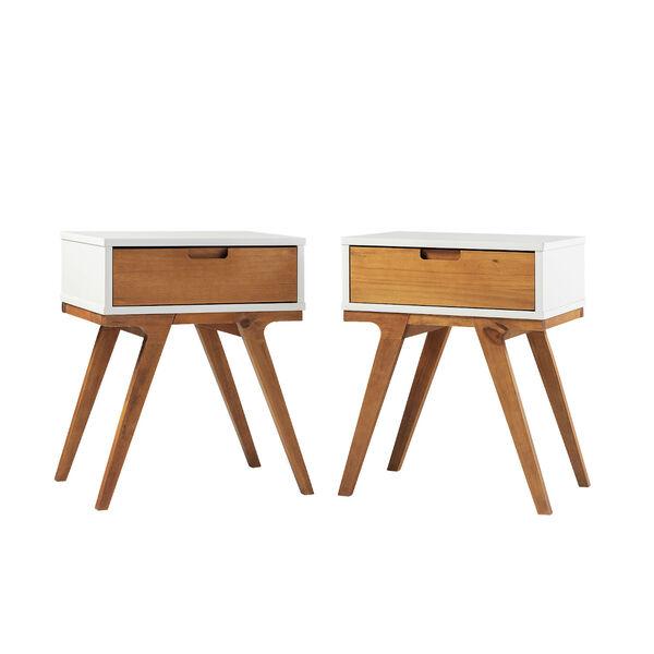 Mateo White and Caramel Beidge-Leg Side Table, Set of Two, image 1