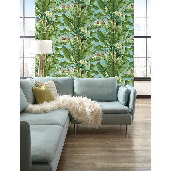 Ashford House Tropics Aqua and Green Banana Leaf Wallpaper, image 3