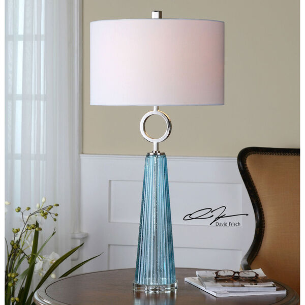 Navier Seeded Blue with Polished Nickel One Light Table Lamp with Blue Glass, image 2