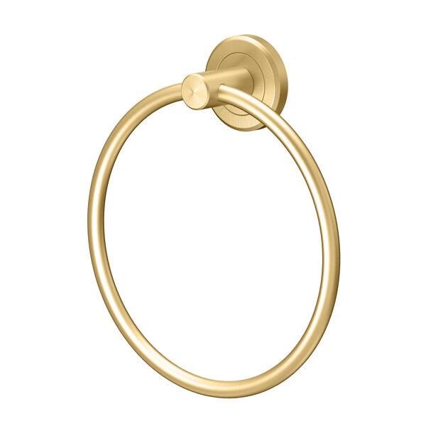 Latitude II Brushed Brass Towel Ring, image 1