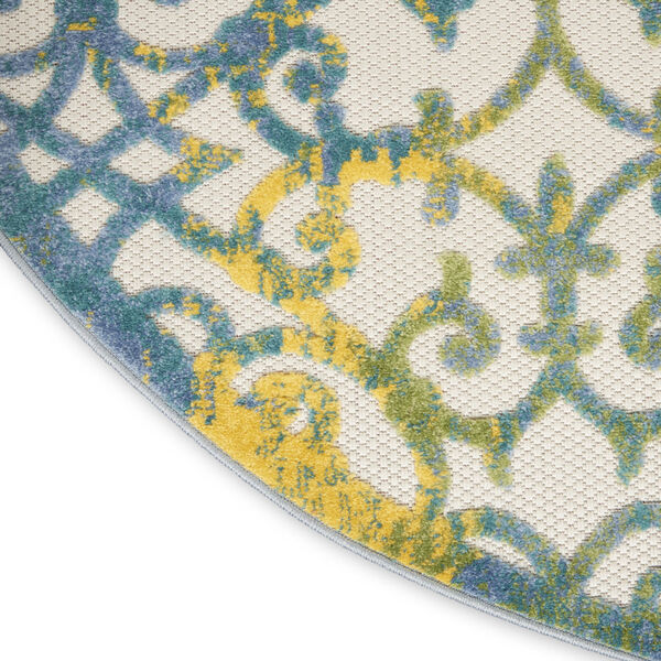 Aloha Ivory and Blue 5 Ft. 3 In. x 5 Ft. 3 In. Round Indoor/Outdoor Area Rug, image 5