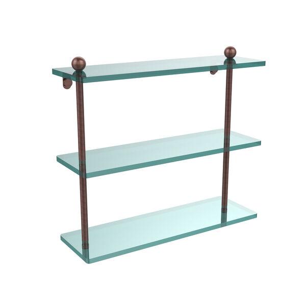 Antique Copper 16 x 5 Triple Glass Shelf, image 1