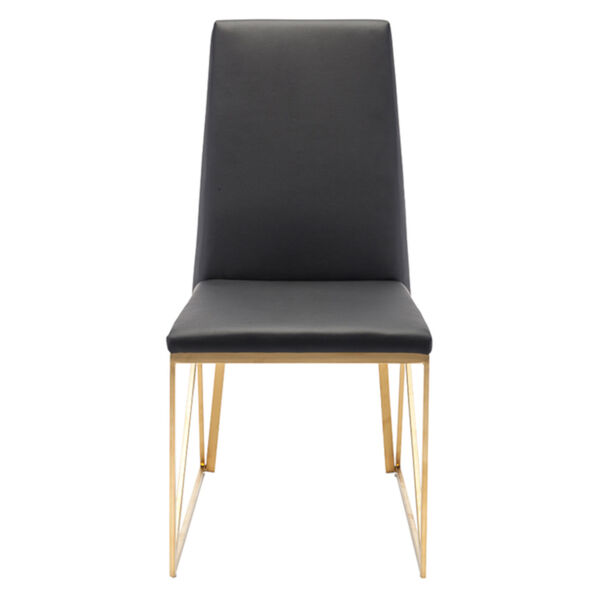 Caprice Black and Brushed Gold Dining Chair, image 2