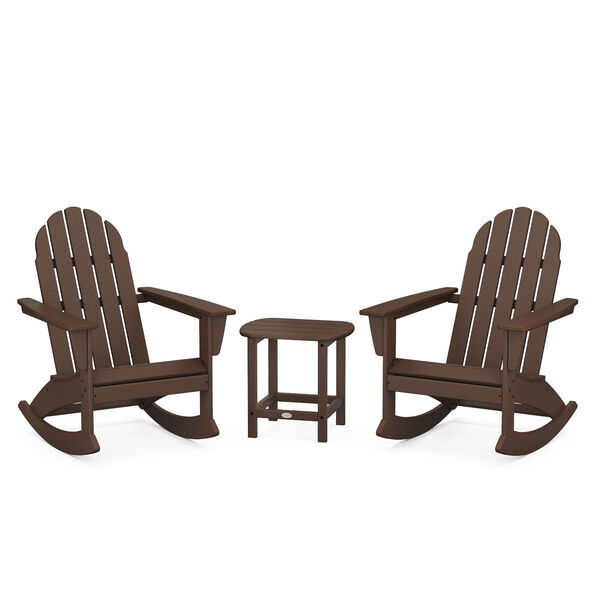 Vineyard Mahogany Outdoor Adirondack Rocking Chair Set with Side Table, 3-Piece, image 1