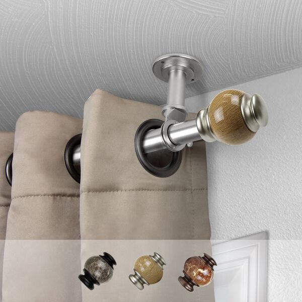 Satin Nickel 120-Inch Ceiling Curtain Rod, image 2