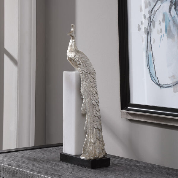 Overseer Silver and Black Overseer Peacock Sculpture, image 1