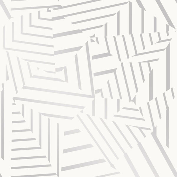 Bobby Berk White and Metallic Silver Dazzle Peel and Stick Wallpaper, image 2