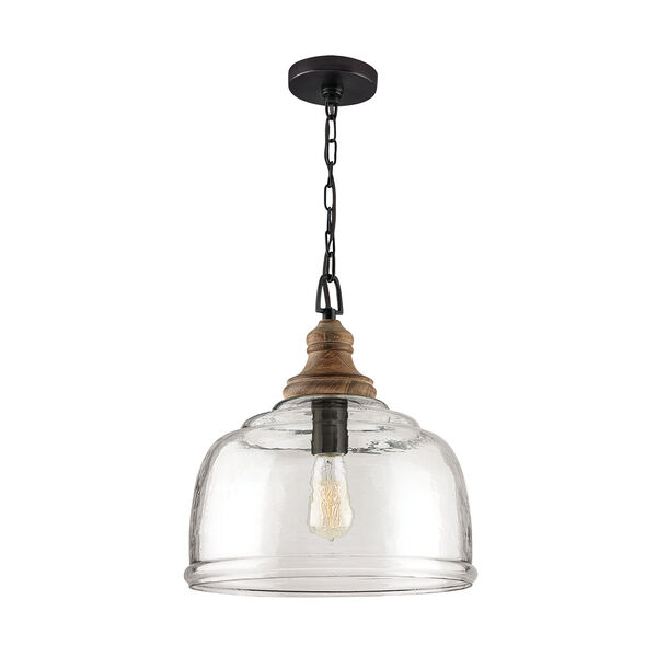 Grey Wash and Iron Silk One-Light Pendant with Clear Organic Rippled Glass, image 1