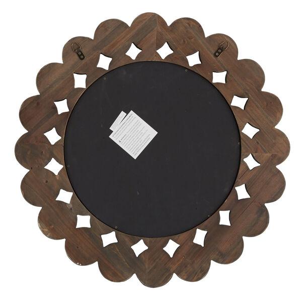 Katherine Dark Brown Reclamied Wood 32-Inch Round Wall Mirror, image 5