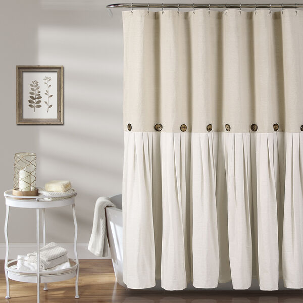 Linen Button 72 In. Shower Curtain, image 1