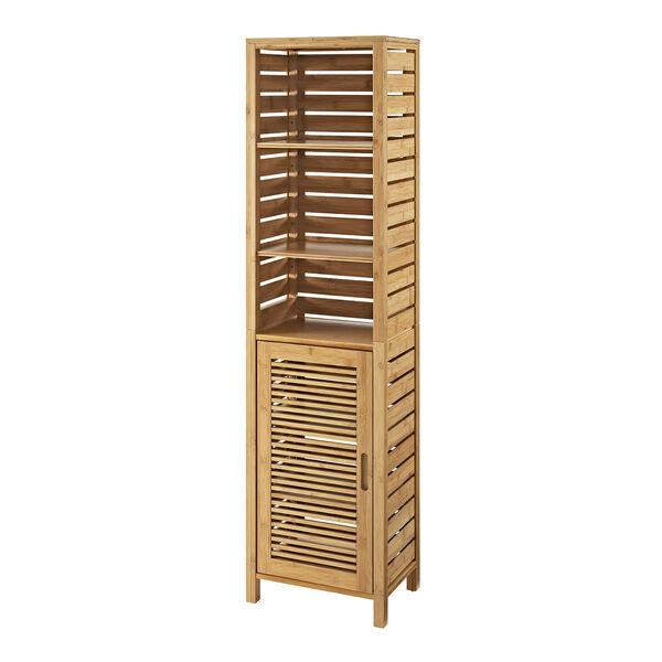 Navaeh Natural Bamboo Bathroom Tall Cabinet, image 1