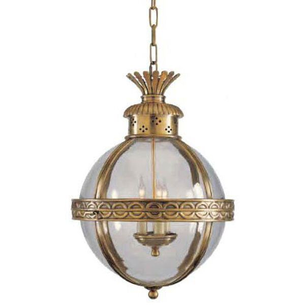 Antique Brass Crown Top Banded Globe Pendant, image 1