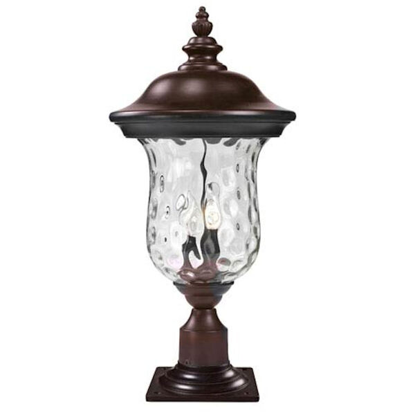 Armstrong Two-Light Rubbed Bronze Outdoor Pier Mount Light with Clear Waterglass, image 1