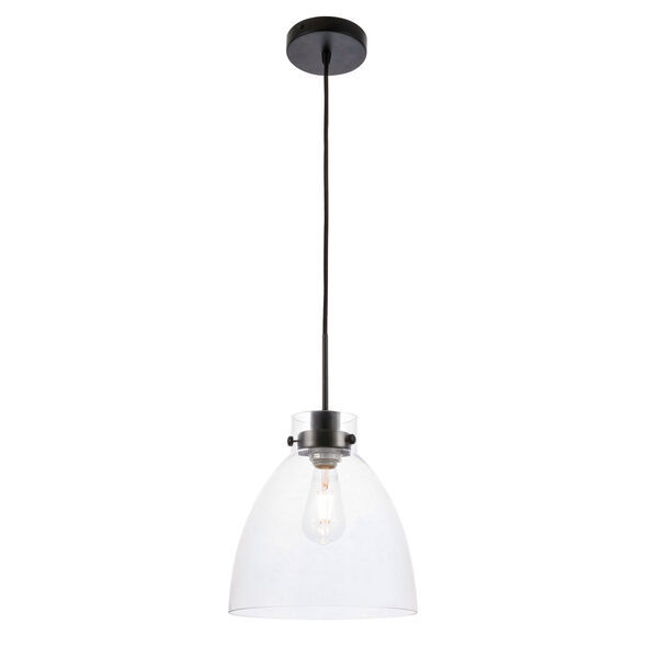 Frey Black 11-Inch One-Light Pendant with Clear Glass, image 1