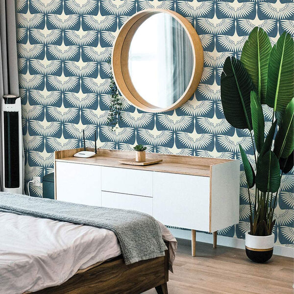 Feather Flock Denim Blue 28 Sq. Ft. Peel and Stick Wallpaper, image 4
