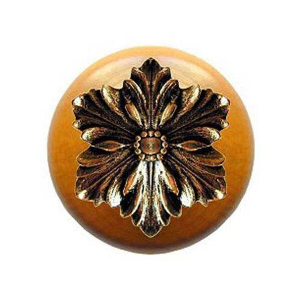Maple Opulent Flower Knob with Brite Brass, image 1
