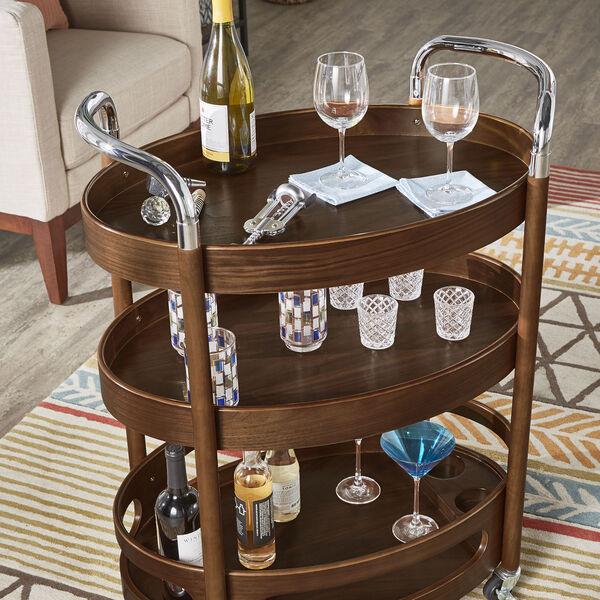 Andrea Walnut Oval Bar Cart, image 6