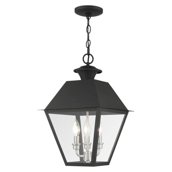 Mansfield Black Three-Light Outdoor Pendant Lantern, image 1